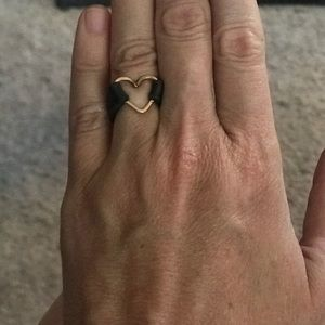 Jewelry - Copper heart ring with leather.